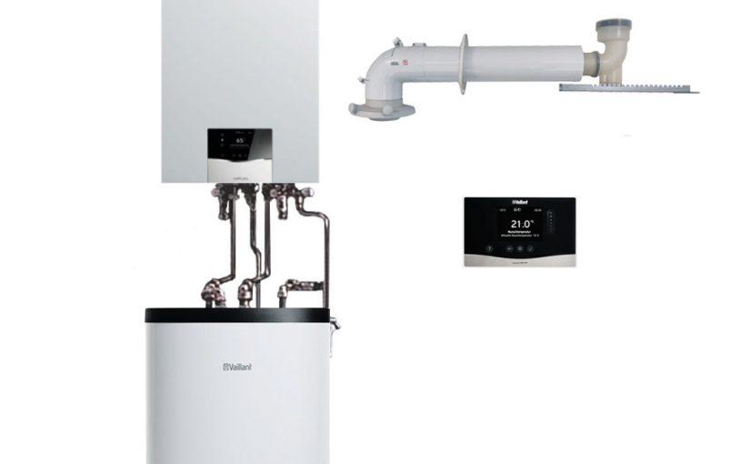 Pakiet Vaillant piec kondensacyjny ecoTEC plus 2,8-26,4kW zasobnik 120L pogodówka zestaw szachtowy